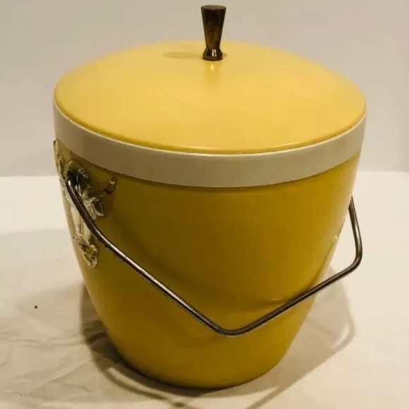 Vintage Mid Century Yellow Ice Bucket Ram Steer 60